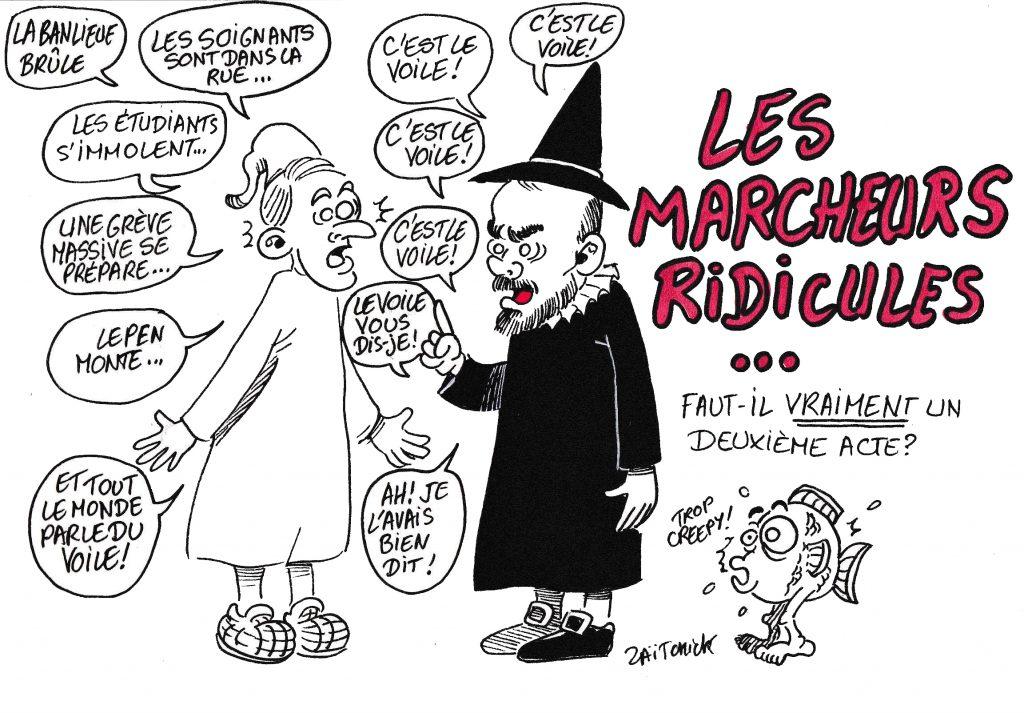 dessin de Zaïtchick sur Emmanuel Macron en Malade imaginaire et Édouard Philippe en Médecin malgré lui accompagnée d'un poisson à pattes