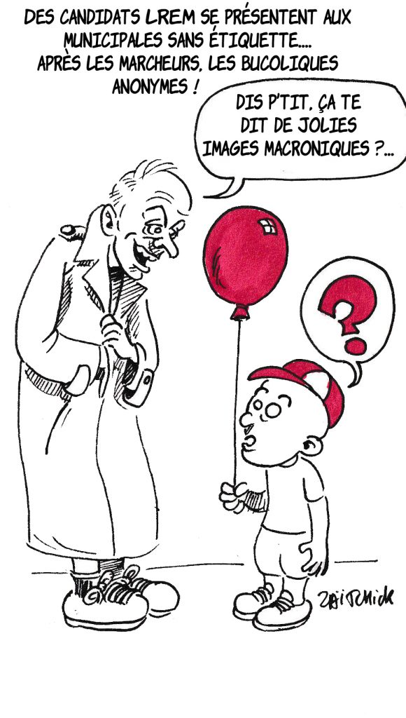 dessin de Zaïtchick d'un candidat LREM dans un grand manteau et d'un petit garçon