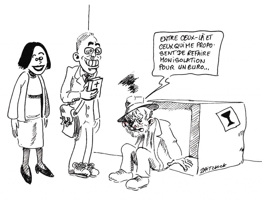 dessin de Zaïtchick d'un clochard démarché par deux témoins de Jéhovah