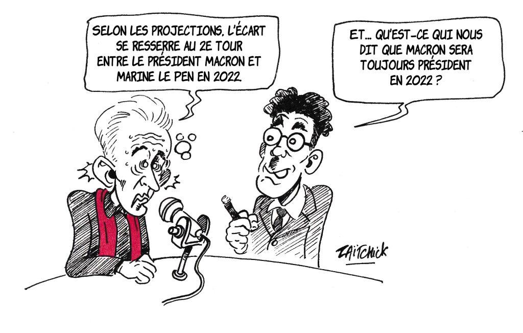 dessin de Zaïtchick sur Christophe Barbier et Groucho Marx commentant les projections du deuxième tour de la présidentielle de 2022