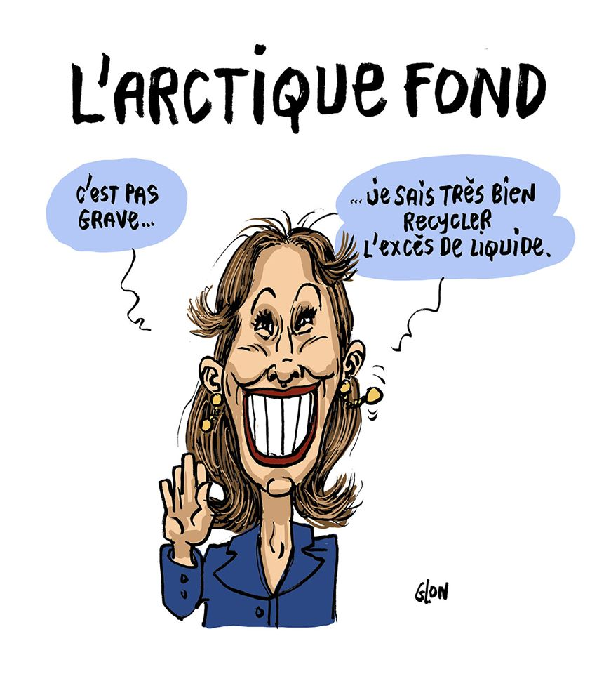 dessin humoristique de Glon sur les accusations concernant des détournements par Ségolène Royal de ses moyens d'ambassadrice des pôles