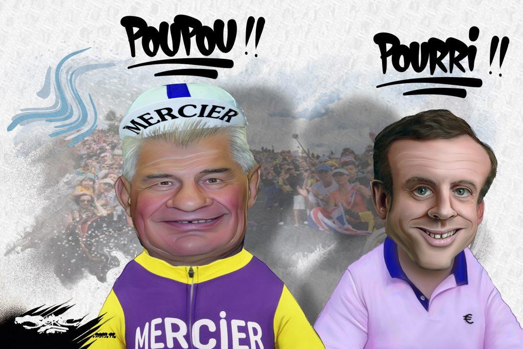 dessin d'actualité humoristique de Jerc sur la mort de Raymond Poulidor et Emmanuel Macron