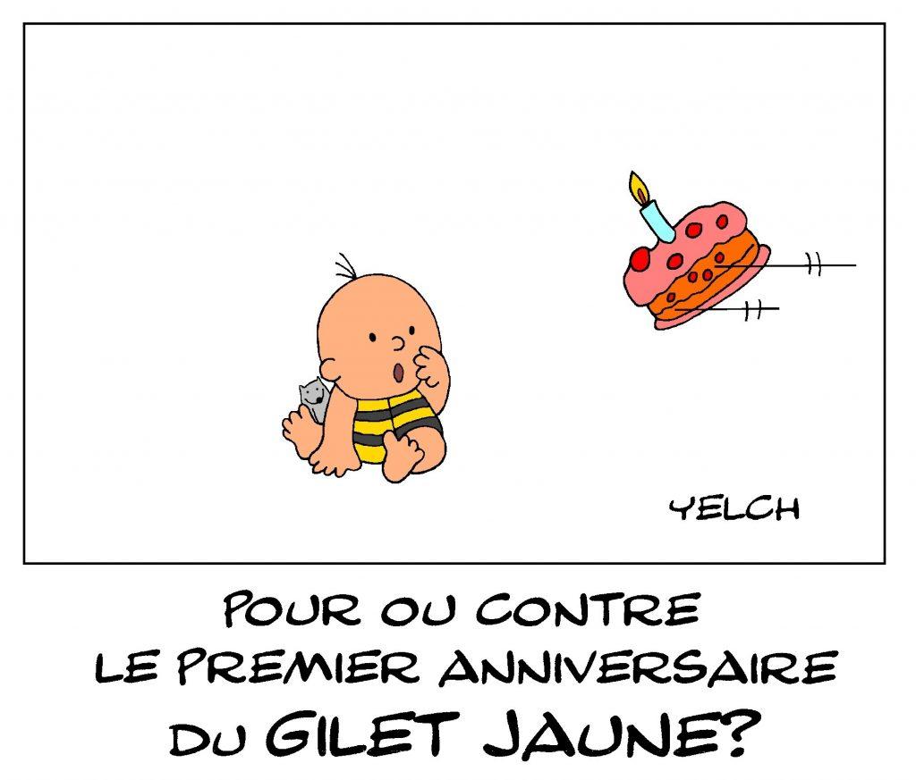 dessin de Yelch sur le premier anniversaire du mouvement des gilets jaunes