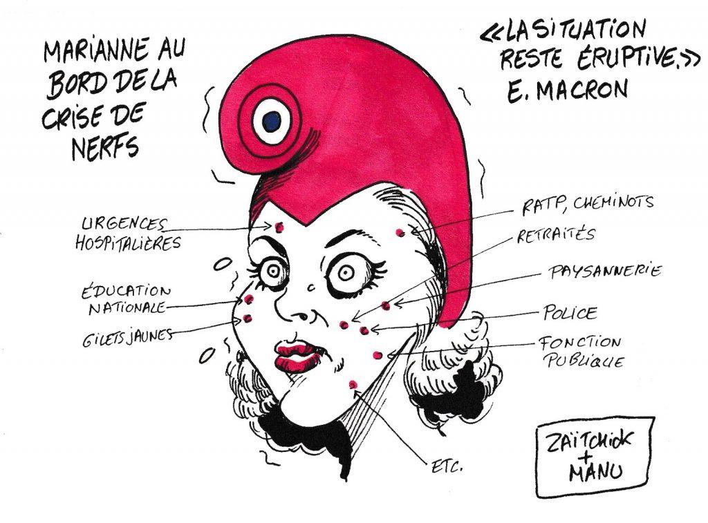 dessin humoristique de Zaïtchick sur la situation éruptive en France
