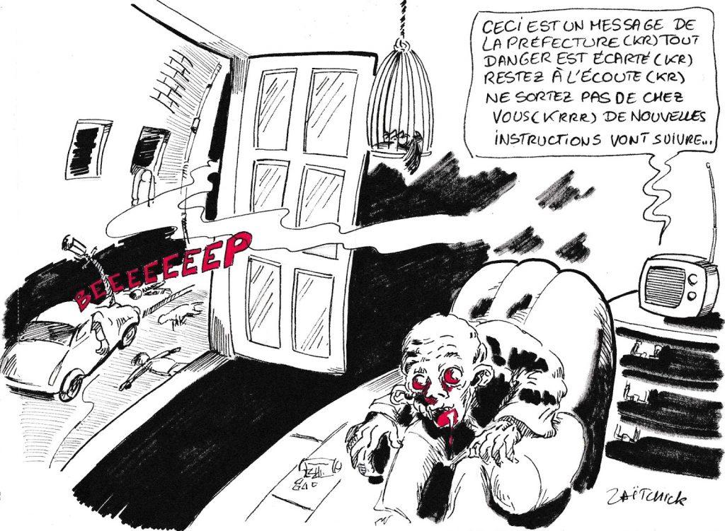 dessin humoristique de Zaïtchick sur l'incendie de l'usine Lubrizol à Rouen et la gestion des risques chimiques en France