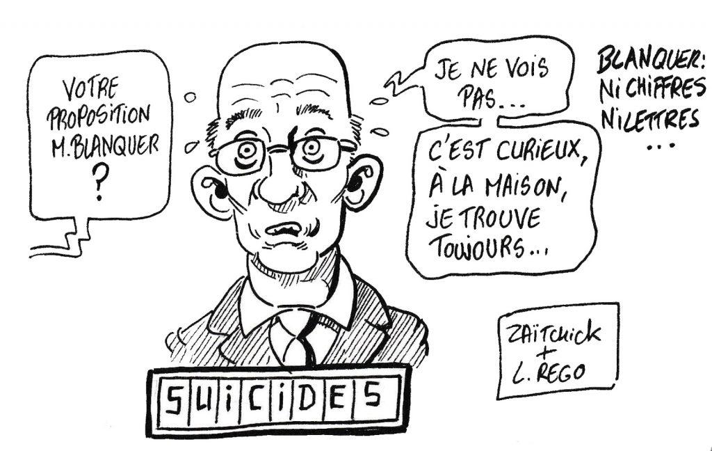 dessin humoristique de Zaïtchick sur Jean-Michel Blanquer et les suicides dans l'Éducation Nationale