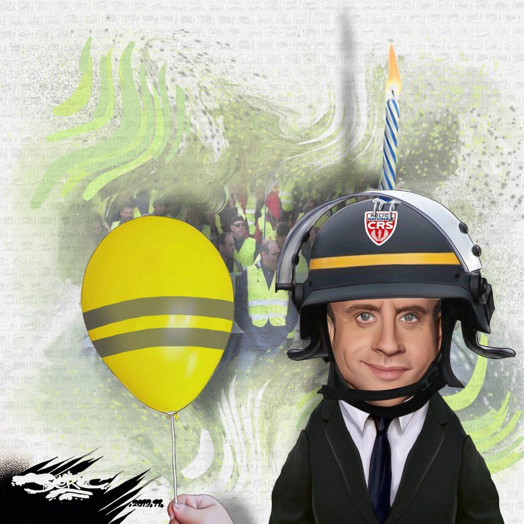 dessin d'actualité humoristique de Jerc sur l'anniversaire du mouvement des gilets jaunes