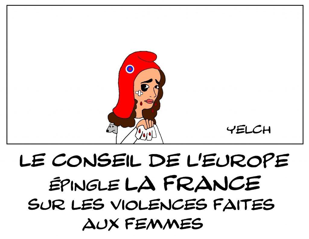 dessin de Yelch sur le Conseil de l'Europe et les violences faites aux femmes