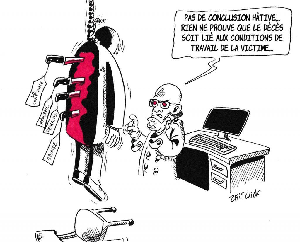 dessin de Zaïtchick sur Jean-Michel Blanquer et la souffrance au travail dans l'Éducation Nationale