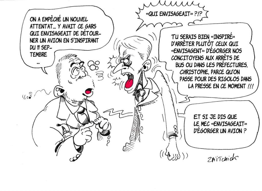dessin de Zaïtchick sur Christophe Castaner, Emmanuel Macron et l'attentat empêché en France