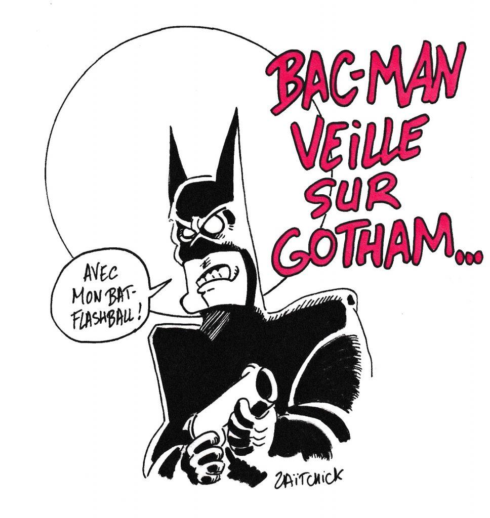 dessin de Zaïtchick sur le parallèle entre Batman, les flashballs, et les violences policières