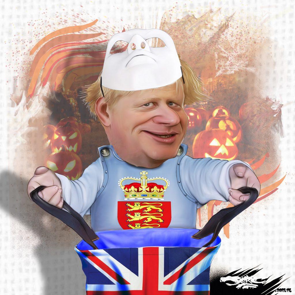 dessin d'actualité humoristique de Jerc sur Halloween, Boris Johnson et le Brexit
