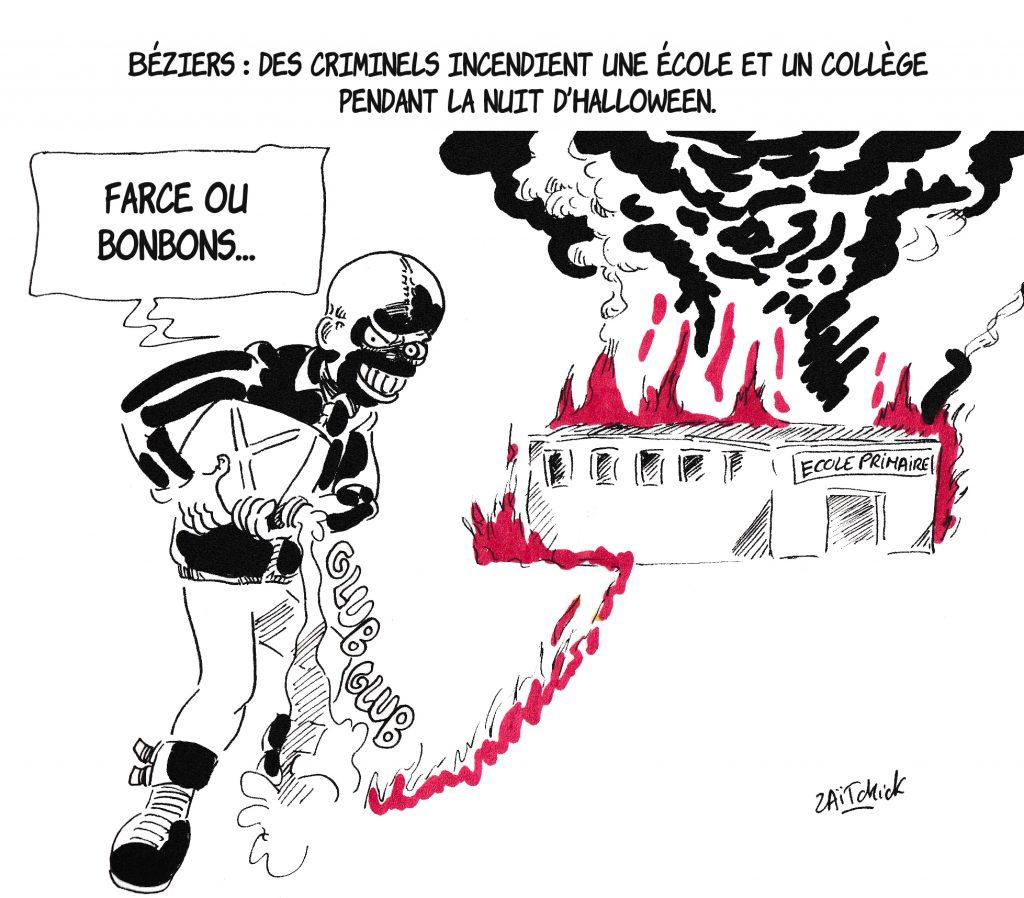 dessin de Zaïtchick sur les incendies d'une école et d'un collège à Béziers