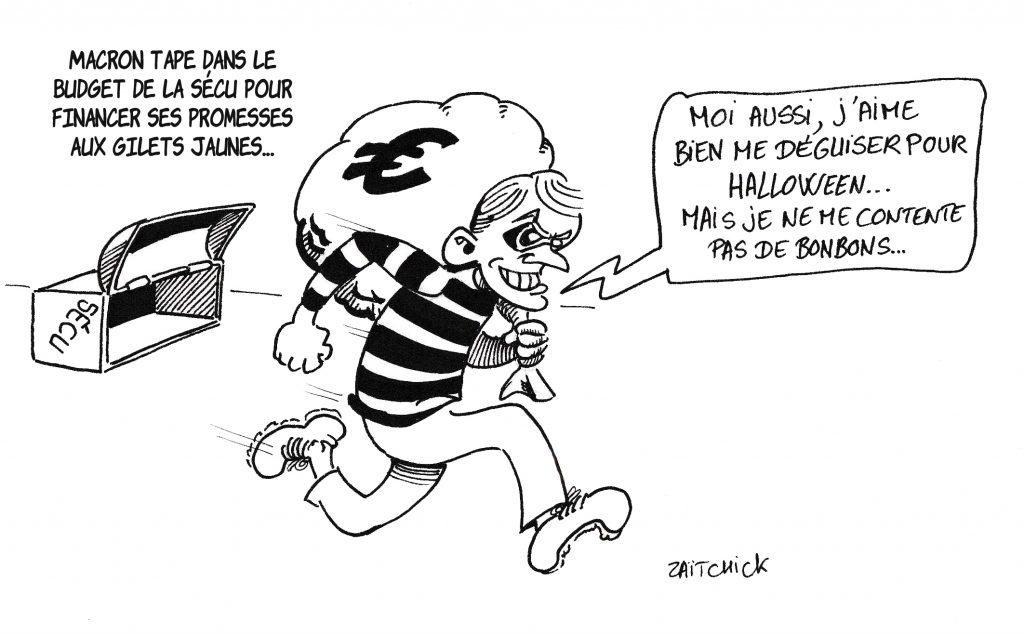 dessin de Zaïtchick sur Emmanuel Macron vidant les coffres de l'Assurance Maladie