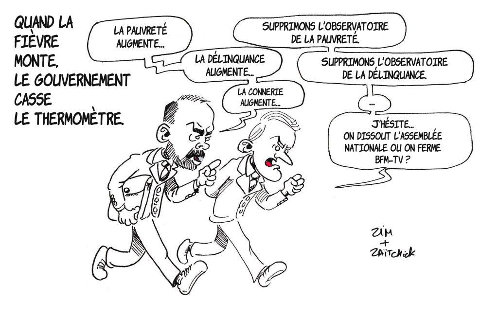dessin de Zaïtchick sur Emmanuel Macron et Édouard Philippe qui suppriment les observatoires de la pauvreté et de la délinquance