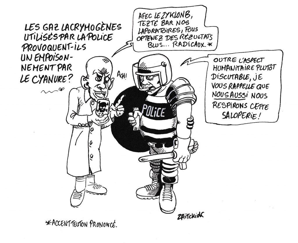 dessin de Zaïtchick sur un savant nazi proposant à un policier un gaz de combat plus efficace