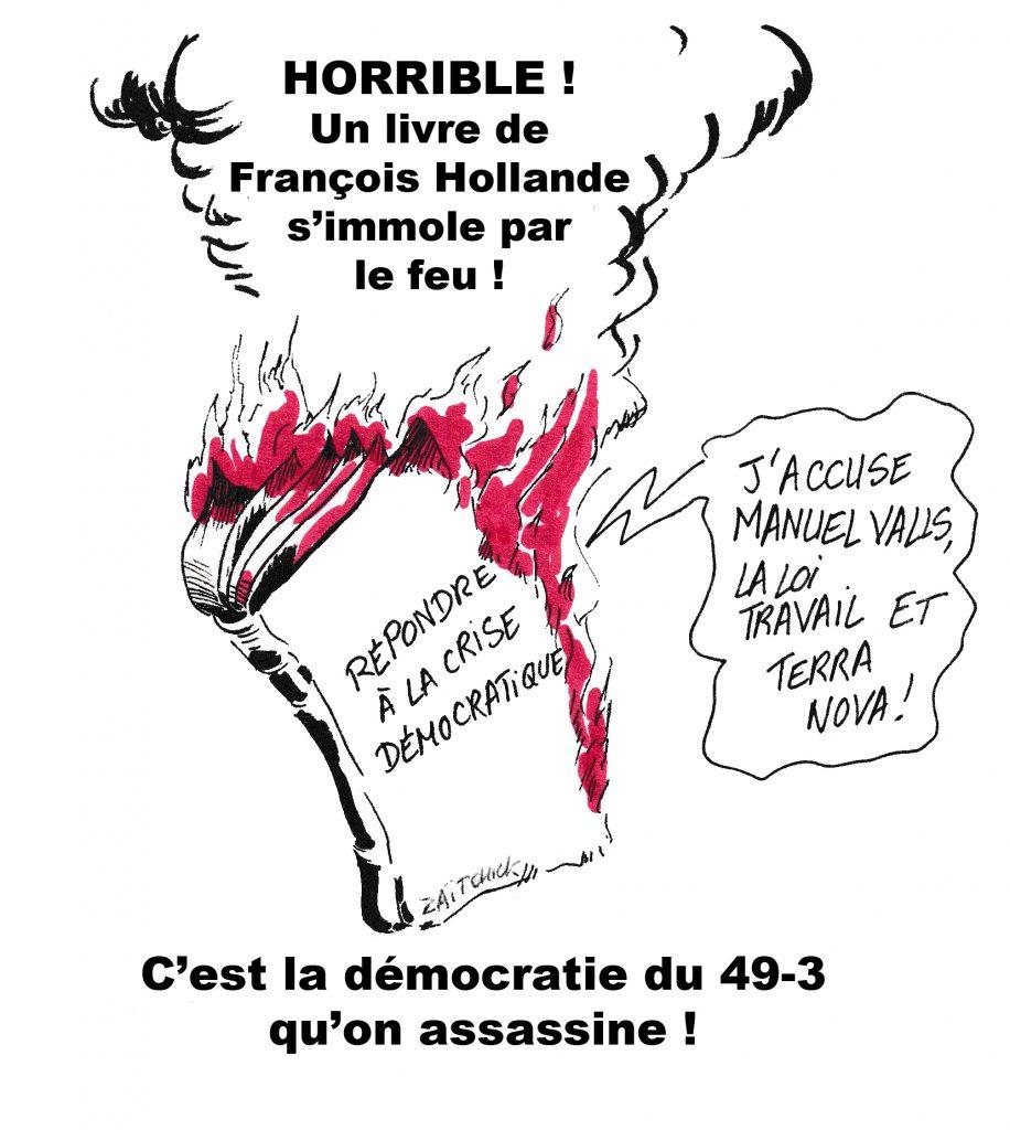 dessin de Zaïtchick sur un livre de François Hollande qui brûle