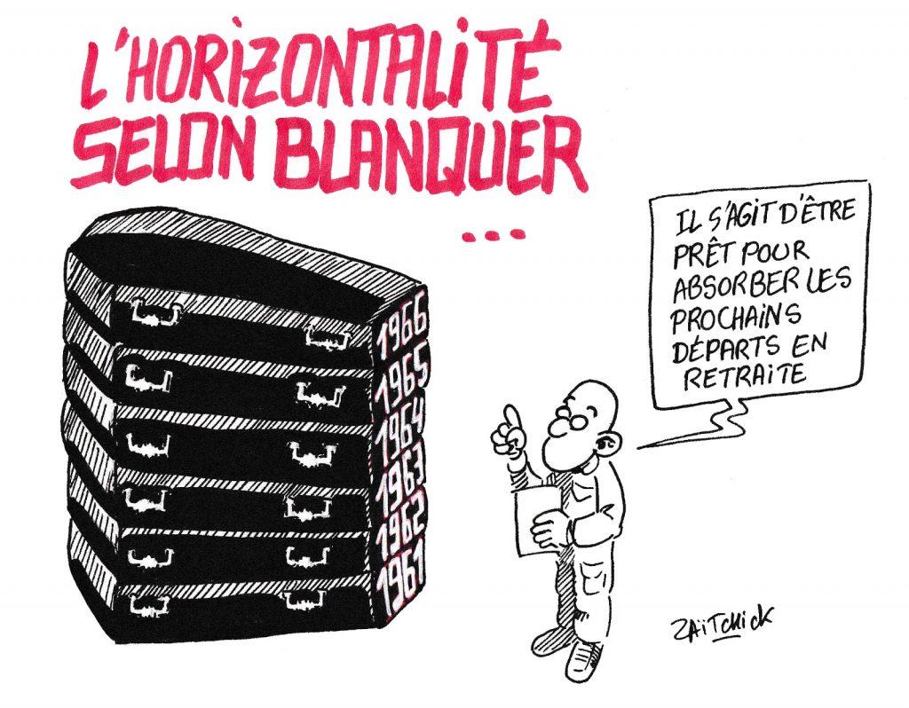 dessin de Zaïtchick sur Jean-Michel Blanquer et les réformes de l'Éducation Nationale
