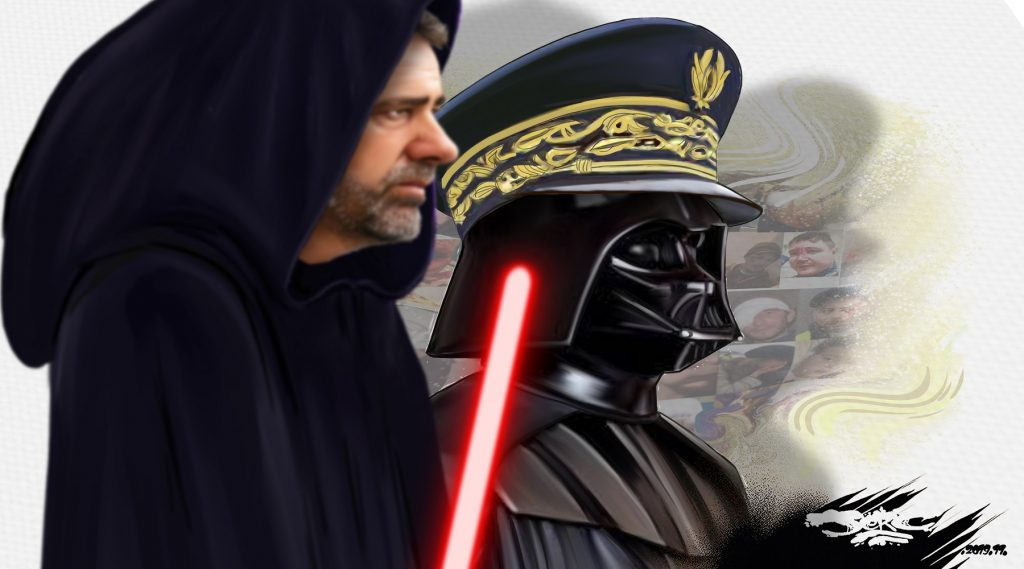 dessin d'actualité humoristique de Christophe Castaner et Didier Lallement version Star Wars