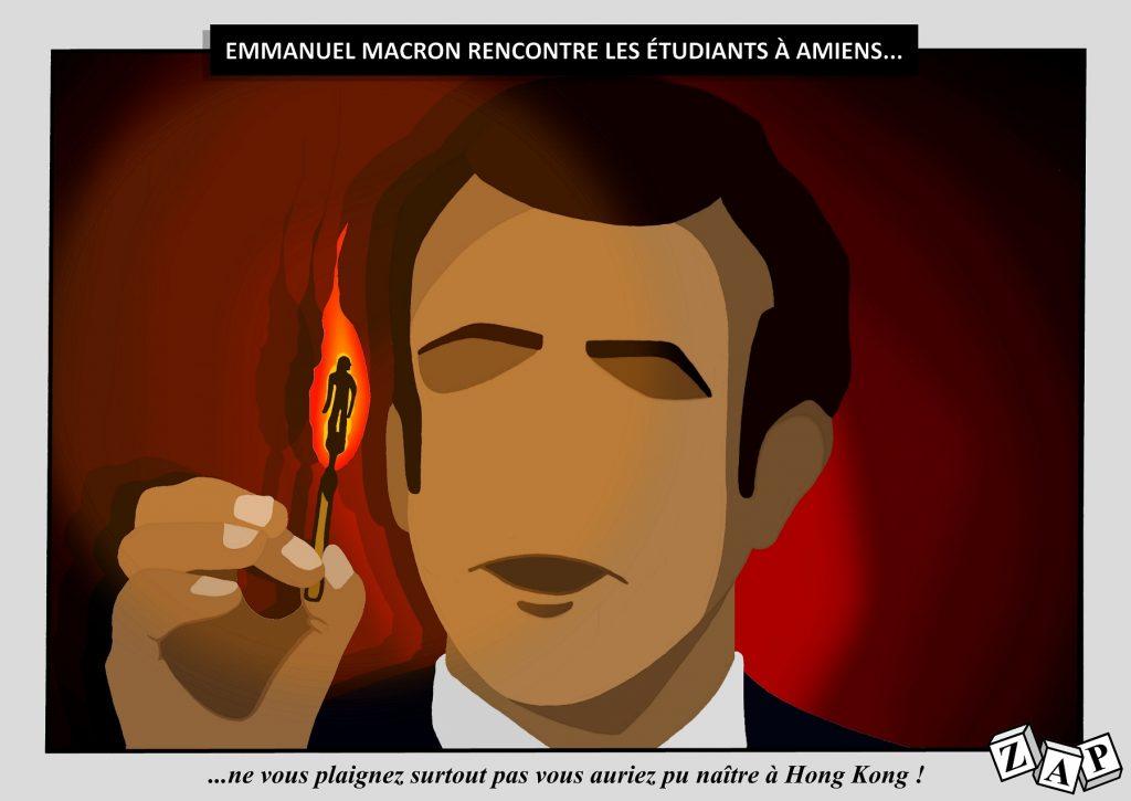 dessin d'actualité de Zap sur la rencontre d'Emmanuel Macron avec des étudiants à Amiens