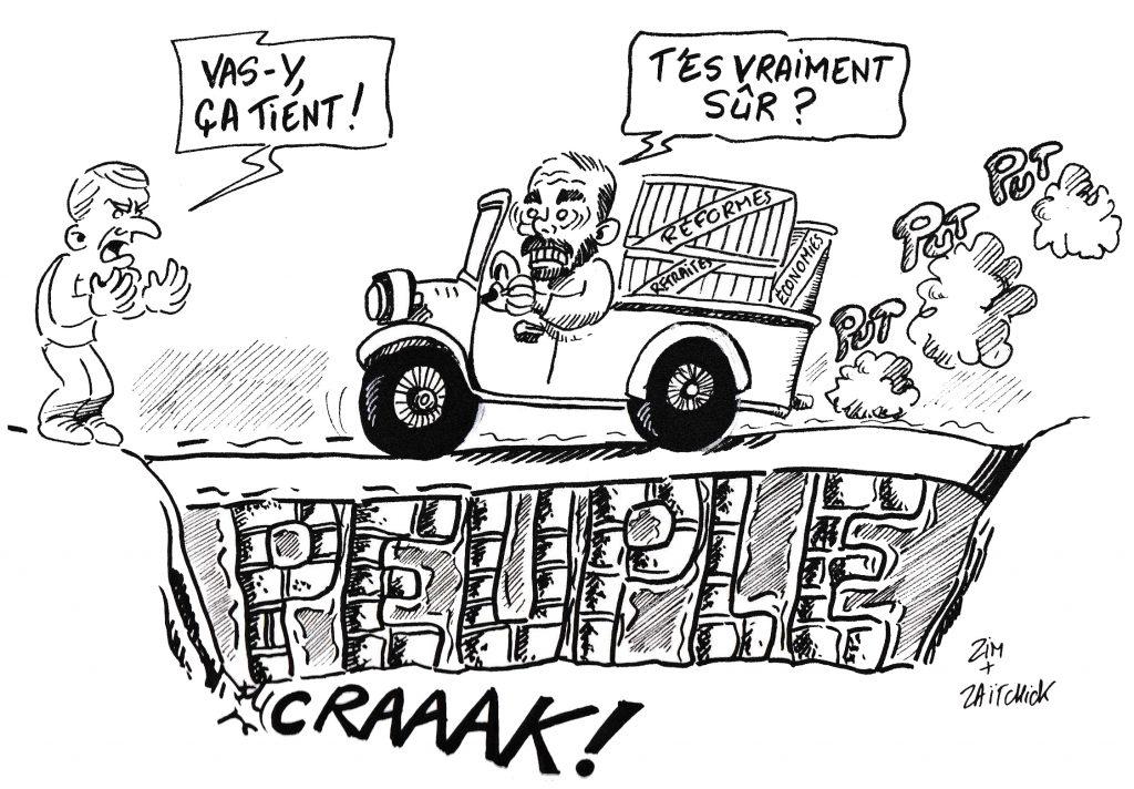 Dessin de Zaïtchick sur Édouard Philippe dans un camion qui franchit un pont branlant encouragé par Emmanuel Macron
