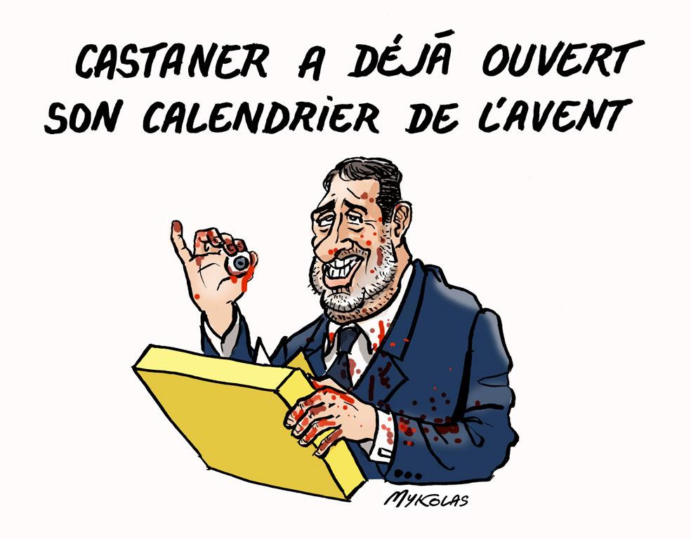 dessin d'actualité humoristique sur le calendrier de l'Avent de Christophe Castaner et les violences policières