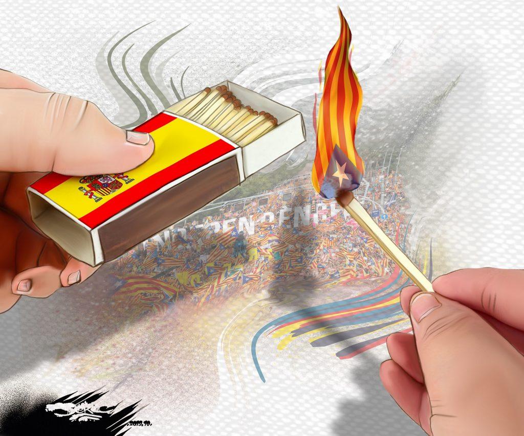 dessin d'actualité humoristique de Jerc sur les troubles séparatistes en Catalogne