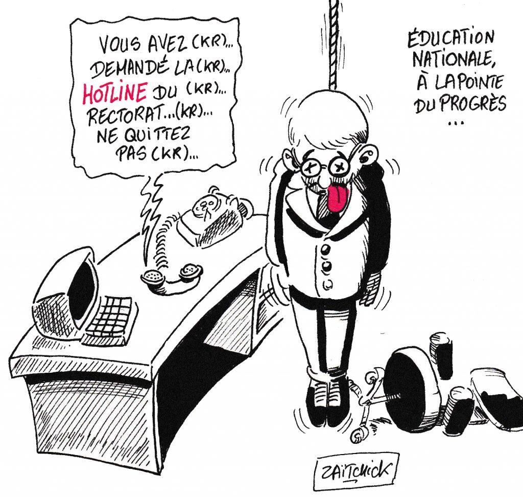 dessin de Zaïtchick sur les suicides au sein de l'Éducation Nationale