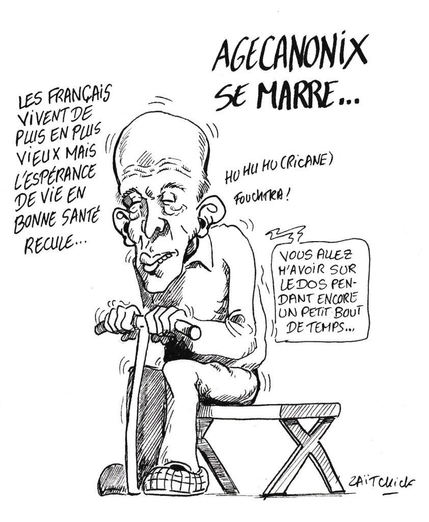 dessin de Zaïtchick sur l'espérance de vie des français et Valéry Giscard d'Estaing
