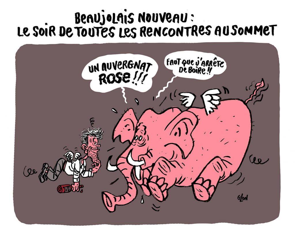 dessin humoristique de Glon sur les éléphants roses et le beaujolais nouveau