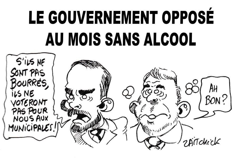 Dessin de Zaïtchick sur Édouard Philippe et Christophe Castaner opposés au mois sans alcool
