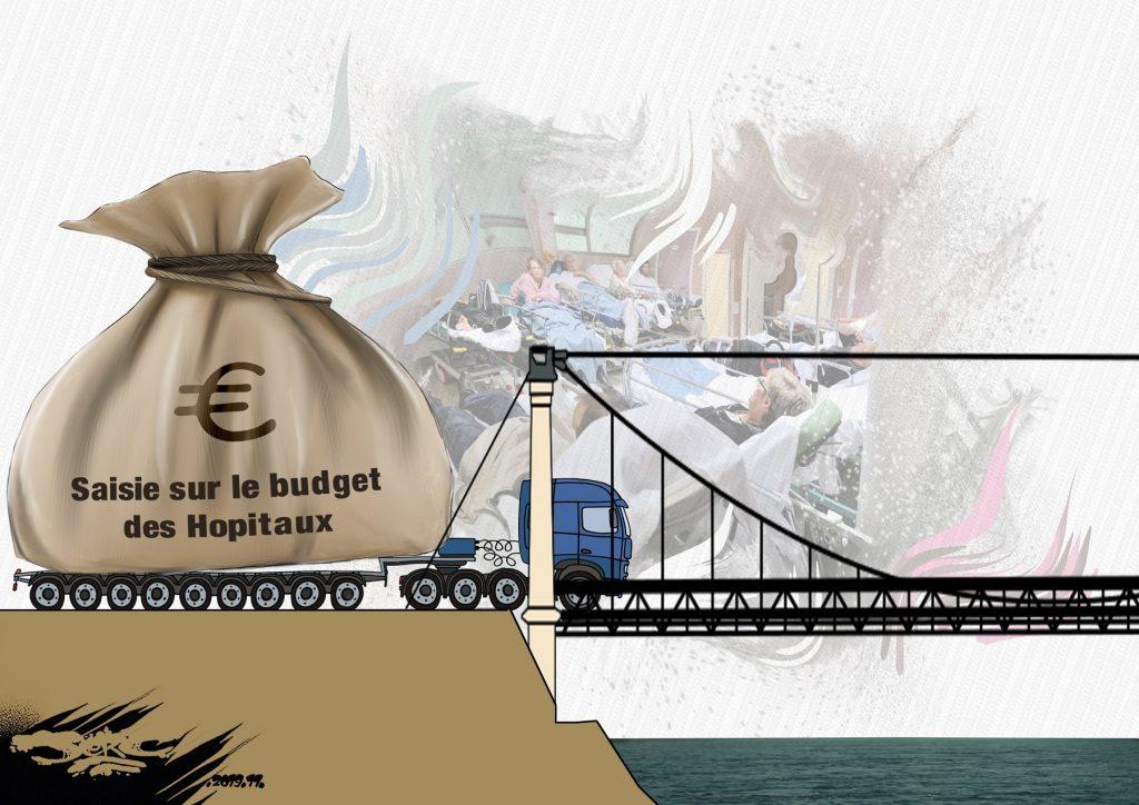 dessin d'actualité humoristique de Jerc sur l'effondrement du pont de Mirepoix-sur-Tarn et la casse du système de santé