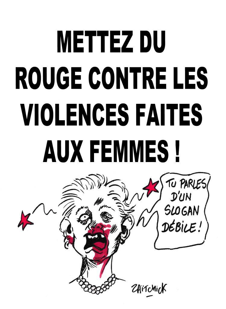 Dessin de Zaïtchick sur les femmes battues opposées aux slogans débiles