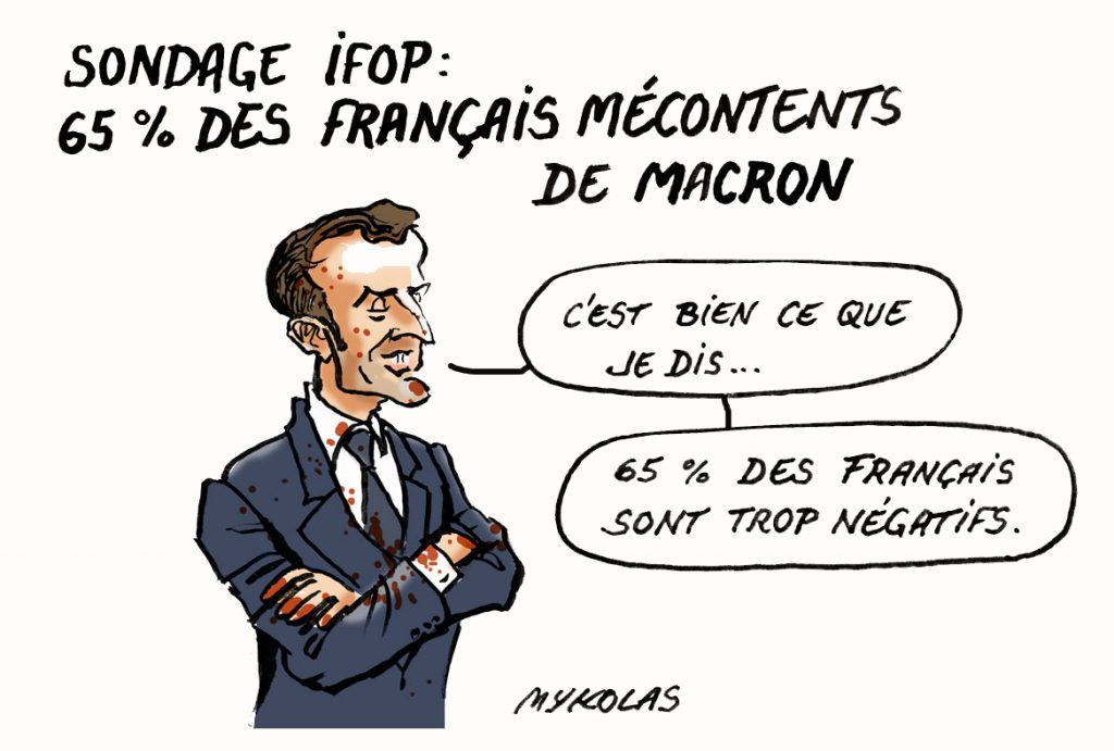 dessin d'actualité humoristique de Mykolas sur le sondage IFOP donnant 65% de français mécontents de la politique d'Emmanuel Macron