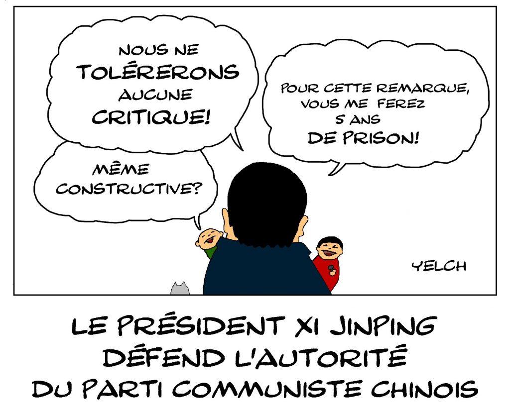 dessin de Yelch sur Xi Jinping et l'autoritarisme du parti communiste chinois