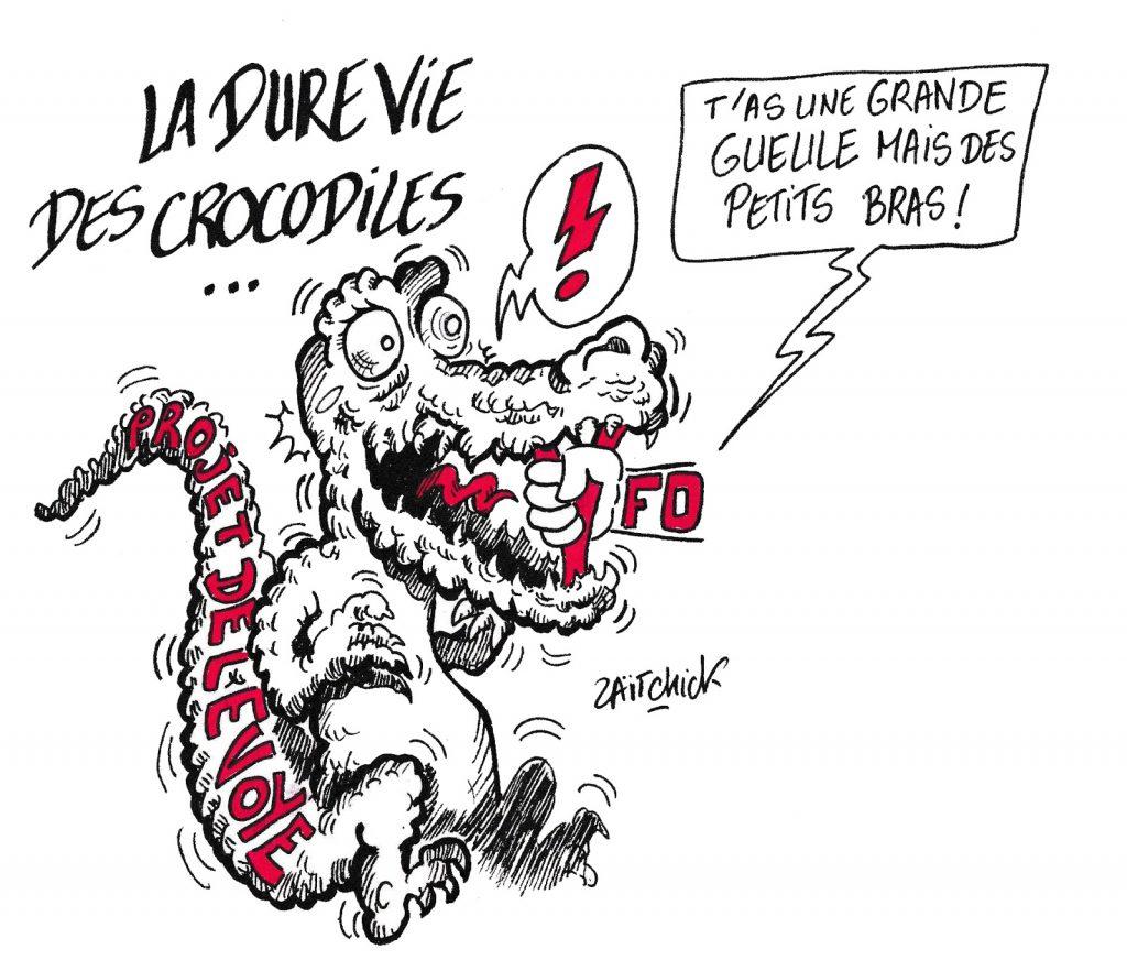 dessin de Zaïtchick sur l'appel à la grève de Force Ouvrière contre le projet de réforme des retraites porté par Jean-Paul Delevoye