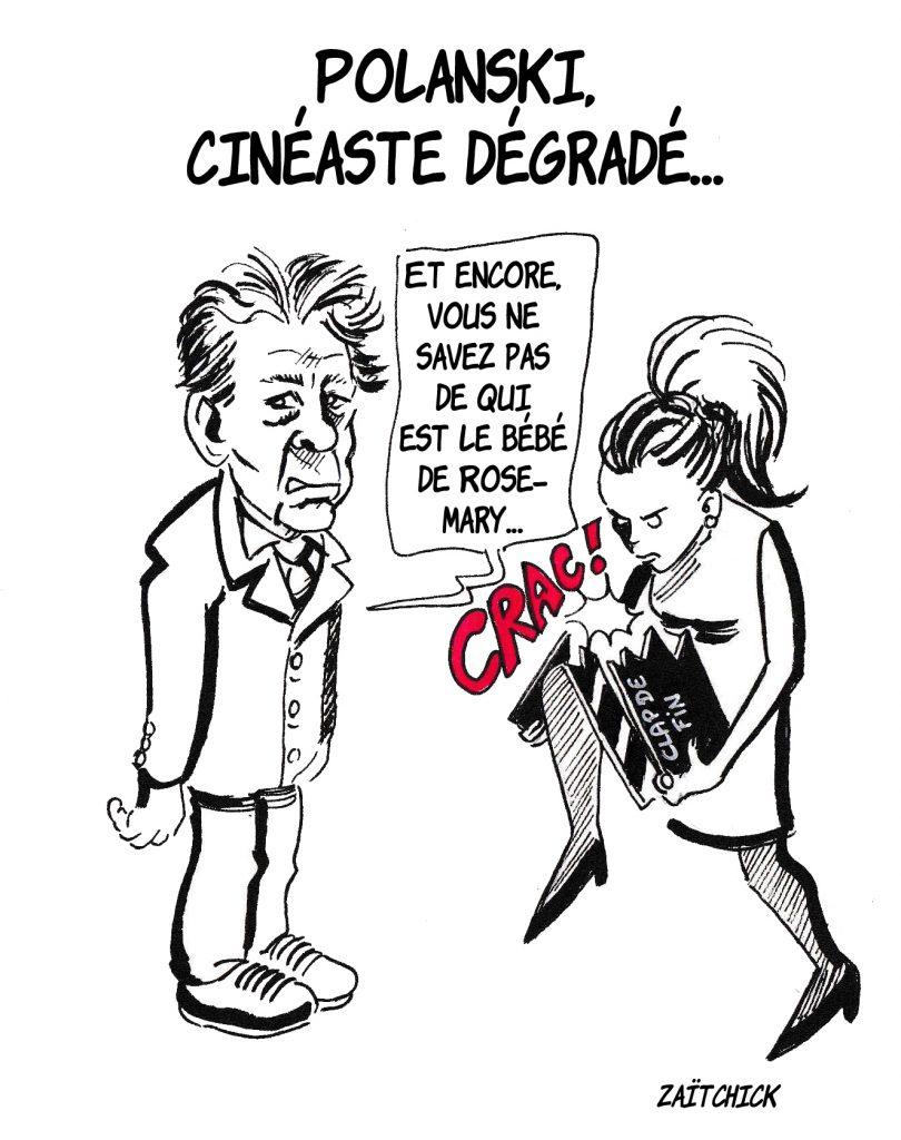 dessin de Zaïtchick sur la dégradation du cinéaste Roman Polanski par une féministe qui brise son clap de tournage