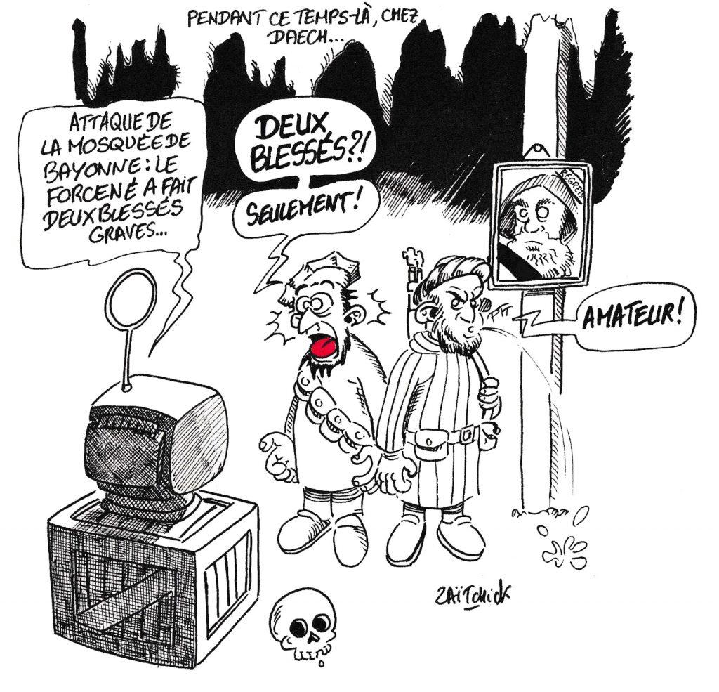 dessin de Zaïtchick sur deux terroristes de l'état islamique qui commentent l'attentat de Bayonne