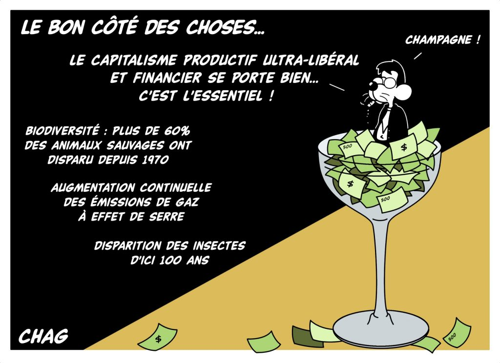 dessin d'humour de Chag sur l'ultralibéralisme et le bon côté des choses