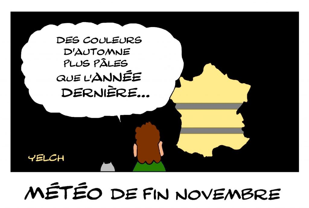 dessin de Yelch sur la météo de novembre et le mouvement des gilets jaunes