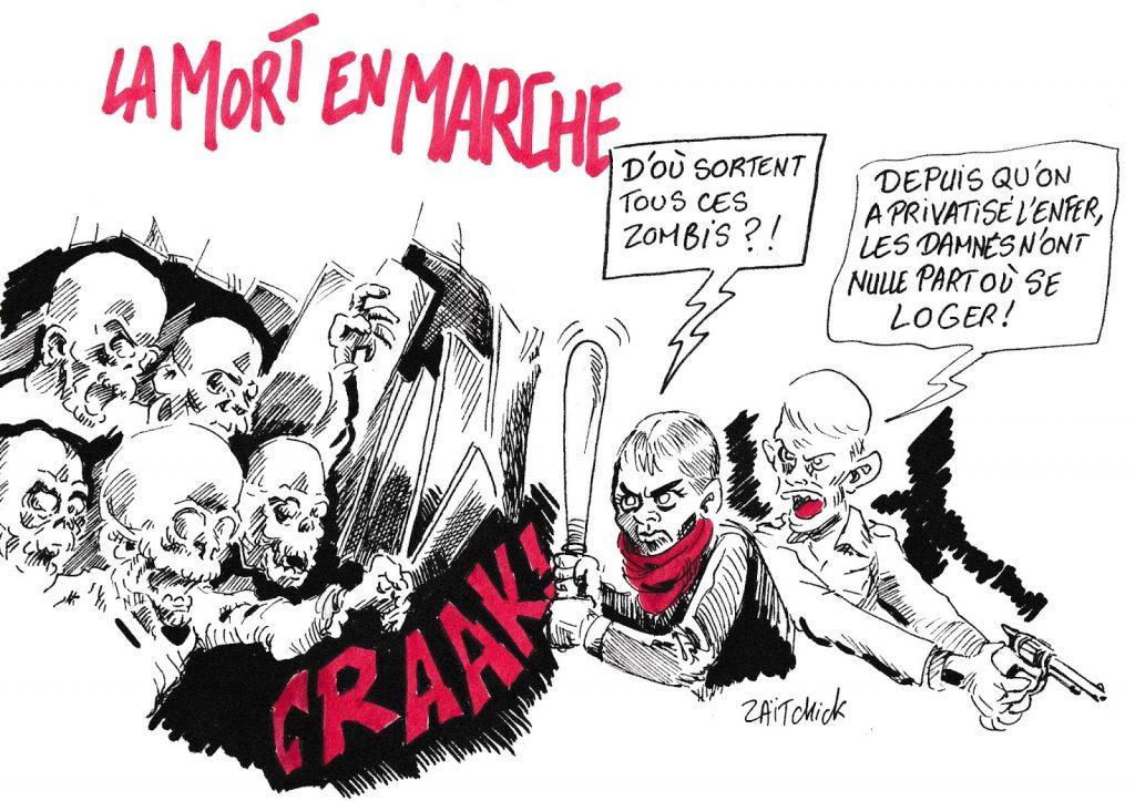 dessin de Zaïtchick sur La République En Marche et la vague de privatisation