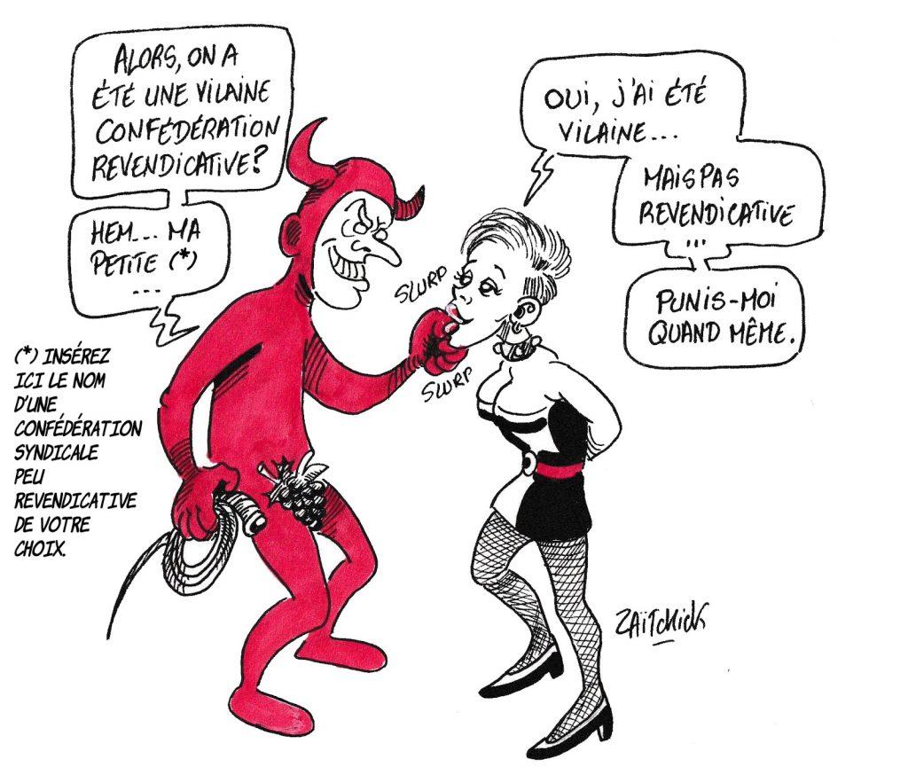 dessin de Zaïtchick sur Emmanuel Macron, les confédérations syndicales peu revendicatives et le sadomacronisme