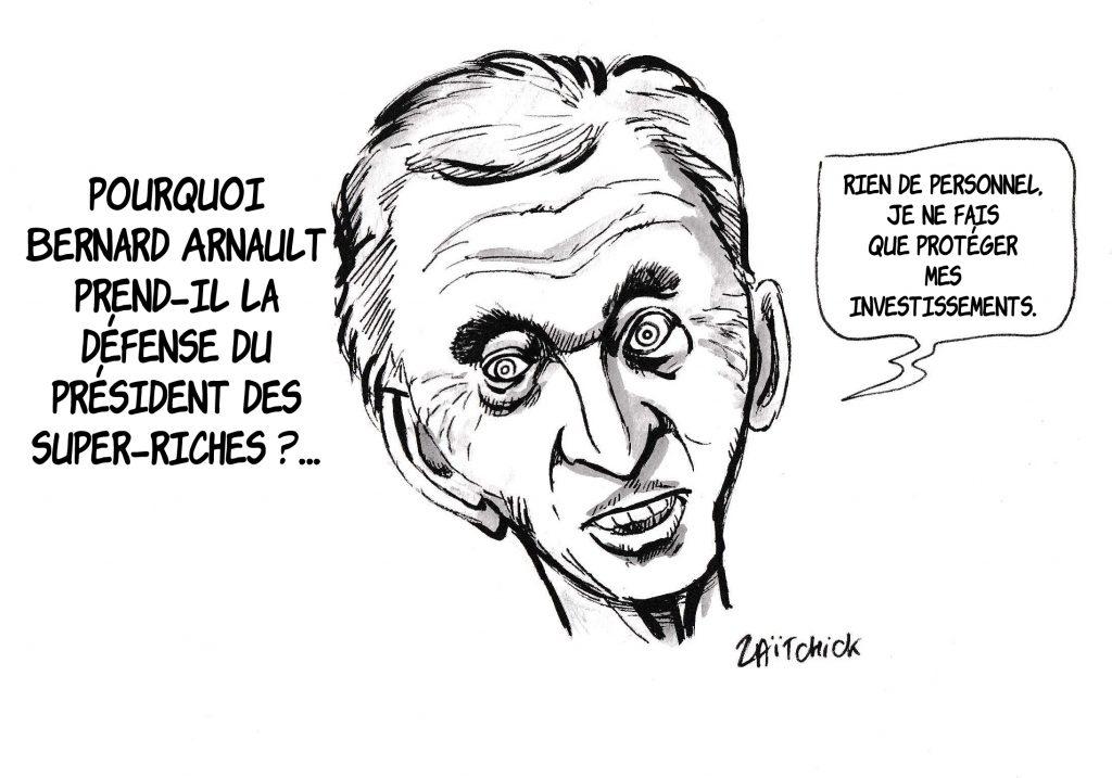 dessin de Zaïtchick sur Bernard Arnault défendant Emmanuel Macron