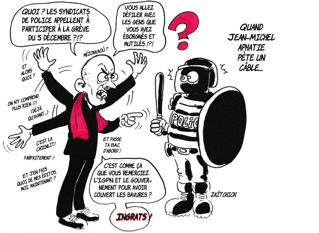 dessin de Zaïtchick sur Jean-Michel Aphatie qui enguirlande un policier