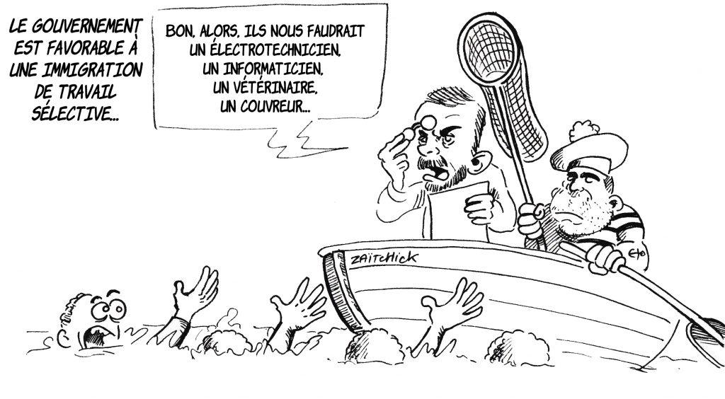 dessin d'actualité de Zaïtchick sur Édouard Philippe et Christophe Castaner à la pêche aux migrants diplômés