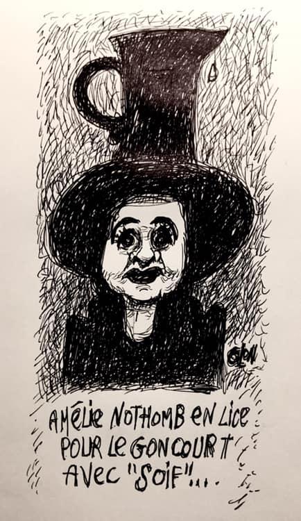 dessin humoristique de Glon sur Amélie Nothomb et son dernier livre « Soif »