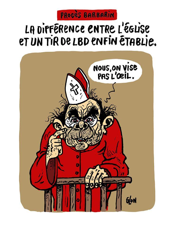 dessin humoristique de Glon sur le procès Barbarin et les violences policières