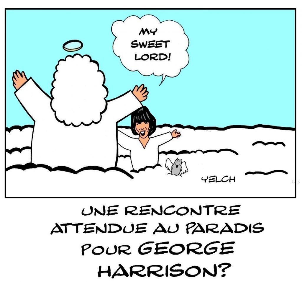 dessin de Yelch sur la disparition de George Harrison