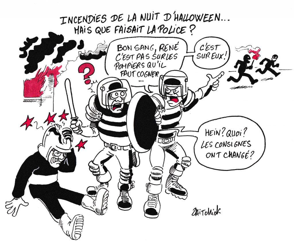 dessin de Zaïtchick sur les policiers qui tapent sur les pompiers au lieu d'arrêter les criminels