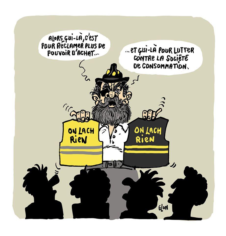 dessin humoristique de Glon sur Jérôme Rodrigues, le consumérisme et les gilets jaunes
